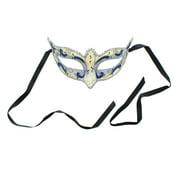 Mona Lisa Eye Costume Mask: Silver/Dark Blue