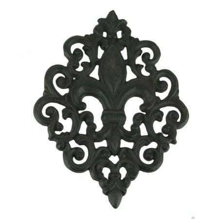 Iron Fleur De Lis (Rustic Black Enamel Fleur De Lis Cast Iron Wall Hanging )