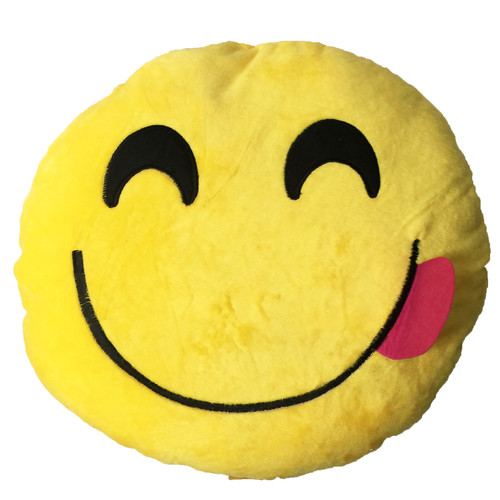 Yellow Smily Face with Red Tongue Stick Out Emoji Cushion