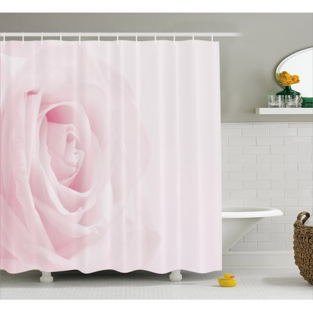 Rose Shower Curtain, Pink Rose Close Up with Soft Blur Focus Fresh Fragile Fragrance Smell Valentine's Day, Fabric Bathroom Set with Hooks, 69W X 70L Inches, Pale Pink, by Ambesonne