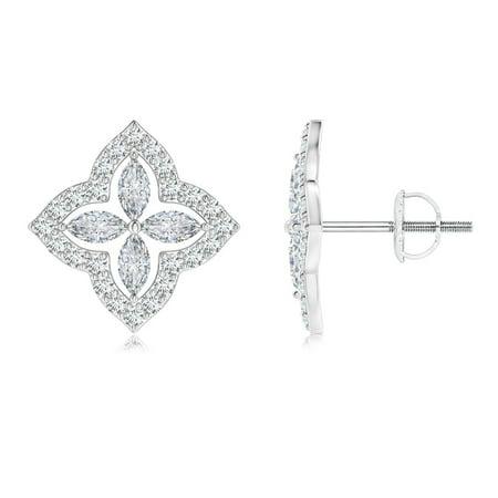 April Birthstone Jewelry - Marquise Diamond Clover Halo Stud Earrings in 14K White Gold (4x2mm Diamond)-SE1555D-WG-GVS2-4x2