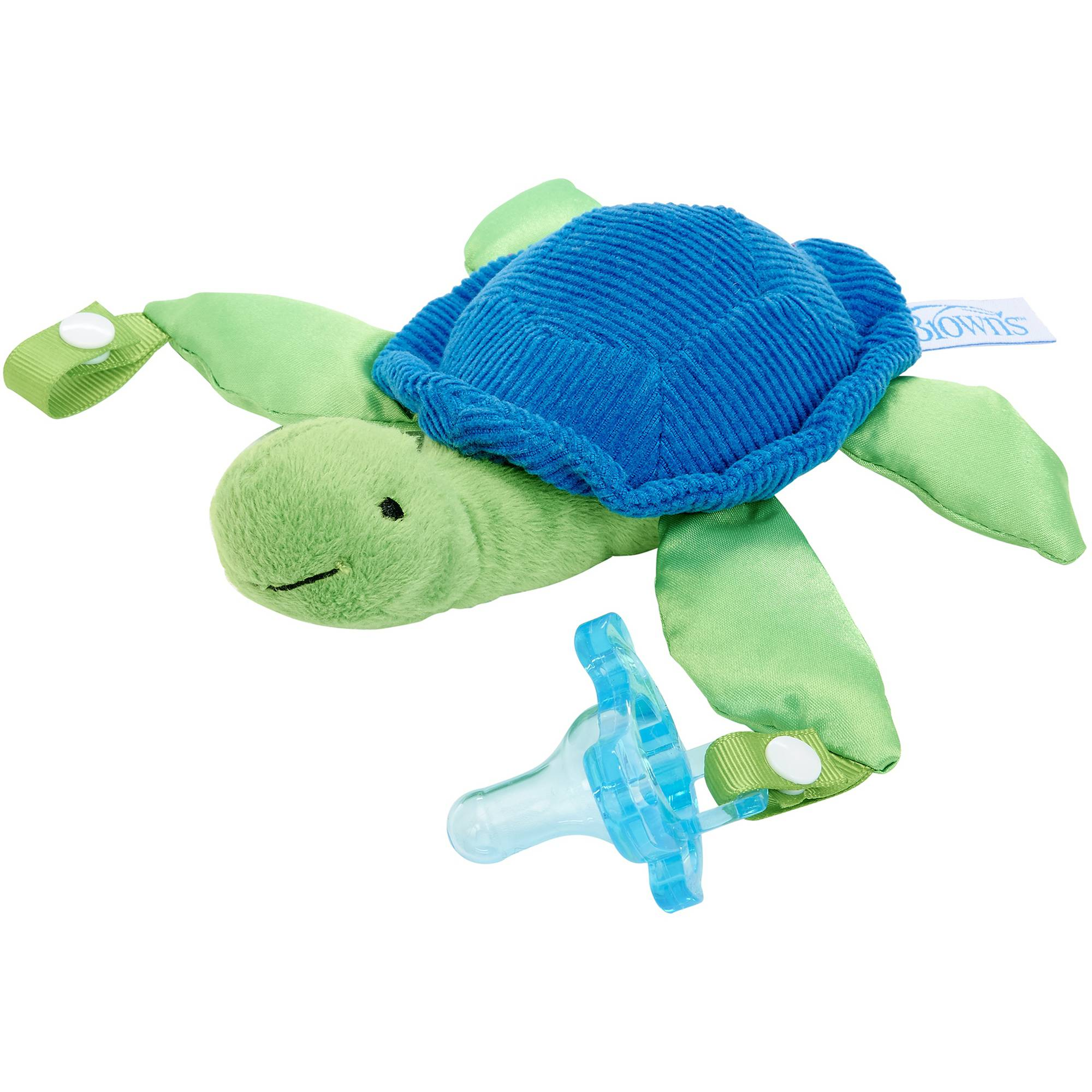 Dr. Brown's Turtle Lovey Pacifier and Teether Holder with Blue 1-Piece Pacifier, BPA-Free