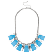 Lux Accessories Silvertone and Blue Stick Fashion Jewelry Statement Necklace