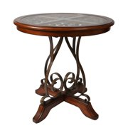 Pastel Carmel 40 Inch Round Wood Pub Table in Cosmo Sepia
