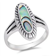 CHOOSE YOUR COLOR Simulated Abalone Long Oval Ring New .925 Sterling Silver Band