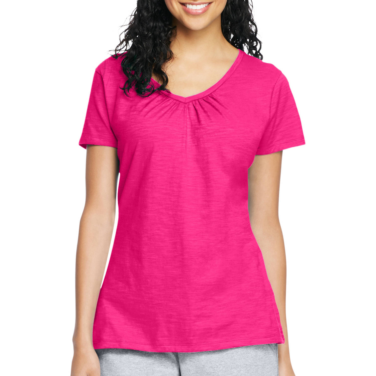 Hanes Women's Slub Shirred V-Neck T-shirt