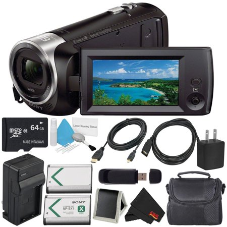 Sony HDR-CX405 HD Handycam HDRCX405/B + External Rapid Charger + 64GB microSDXC + Carrying Case + Deluxe Cleaning Kit + Memory Card Wallet + SD Card USB Reader + Mini HDMI Cable Bundle - Memory Card Slot Cleaning Kit