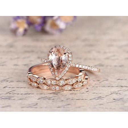 1.50 Carat Pear Cut Morganite and Diamond Trio Wedding Ring Set in Rose Gold (Pear Shaped Wedding Ring Sets)