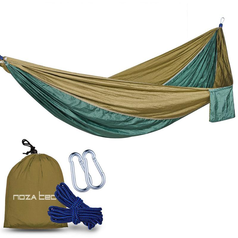 Camping Hammock with Hammock Straps, Portable Double Swing Hammock Bed, Outdoor Nylon Travel Single and Two Person Tree Sack Hammock