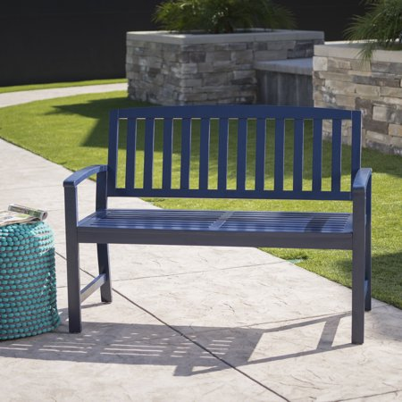 Prime Lilo Outdoor Acacia Wood Bench Navy Blue Cjindustries Chair Design For Home Cjindustriesco