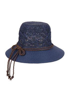 Chic Headwear Crocheted Paper Braid Hat w/ Rope Ribbon