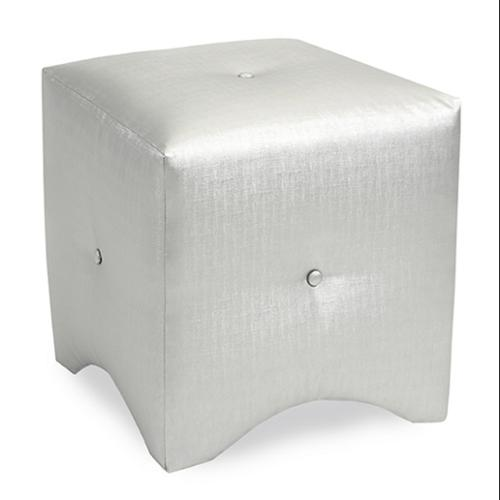 """18"""" Isabella Silver White Metallic Tufted Fabric Ottoman Footstool Cube"""