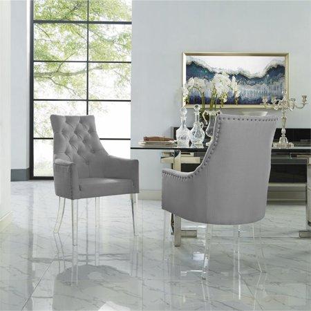 Acrylic Dining Chair - Colton Light Grey Dining Chair - Linen - Set of 2 - Acrylic Legs