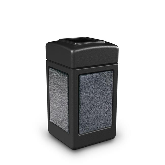 Commercial Zone Products 720313 42-gallon StoneTec Panel Trash Can  Black with Pepperstone Panels