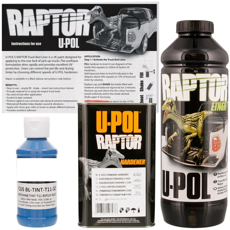 U-POL Raptor Tintable Reflex Blue Bed Liner & Texture Coating, 1 Liter Upol