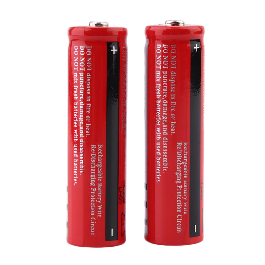 2Pcs 3.7V 18650 3000mAh Li-ion Rechargeable Battery For Flashlight Torch
