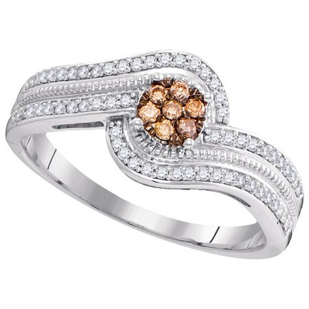 Size - 7 - Solid 10k White Gold Round Chocolate Brown And White Diamond Engagement Ring OR Fashion Band Prong Set Flower Shaped Halo Ring (1/4 cttw)