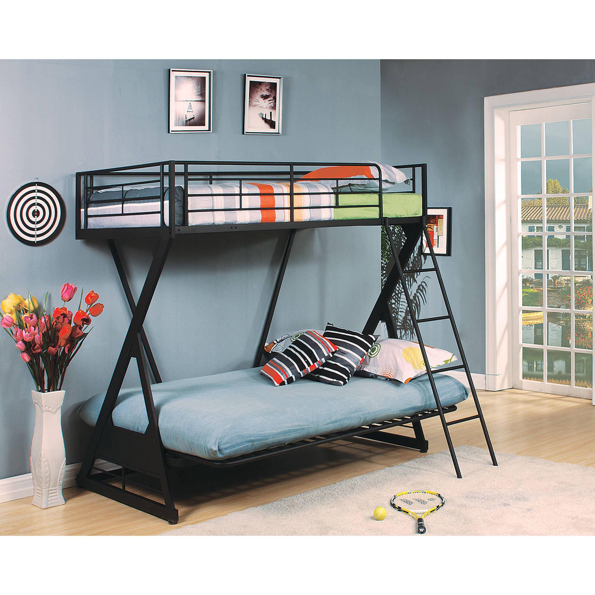 Zazie Twin Over Full Futon Metal Bunk Bed, Sandy Black