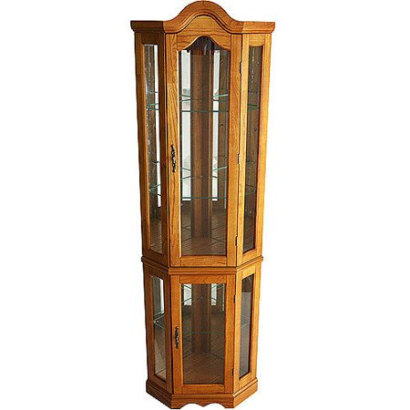 Corner Lighted Curio Cabinet, Golden (Golden Oak Curio Cabinet)