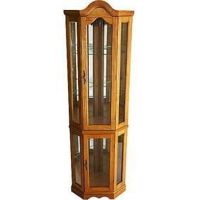 Corner Lighted Curio Cabinet Golden Oak