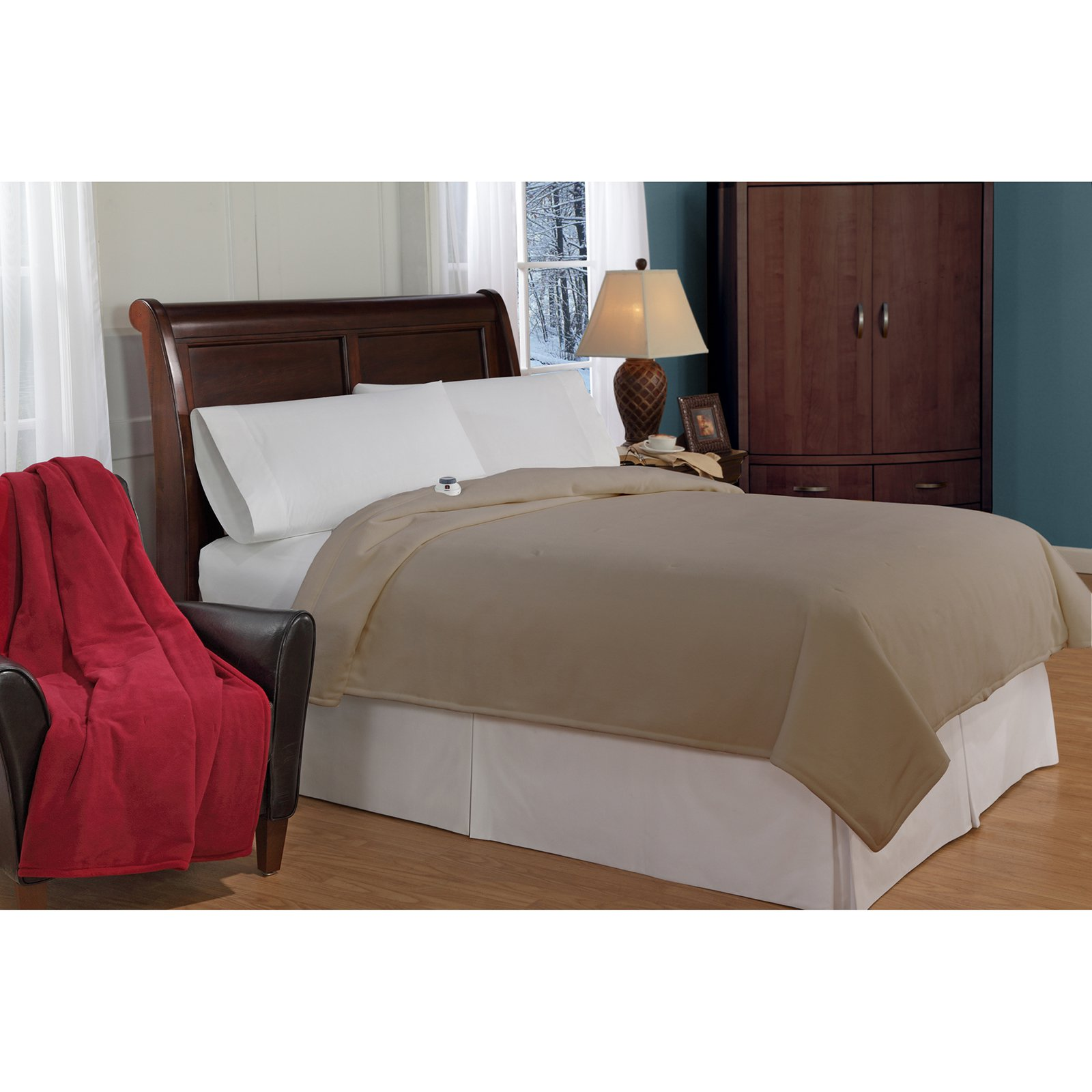safe and warm microfleece lowvoltage heated electric blanket walmartcom - Microfleece Sheets