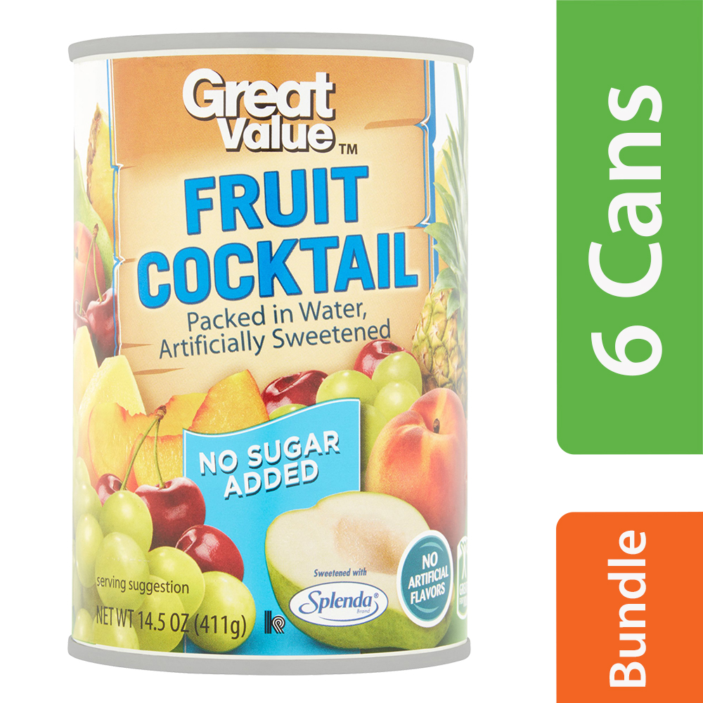 (6 Pack) Great Value No Sugar Added Fruit Cocktail in Water, 14.5 oz