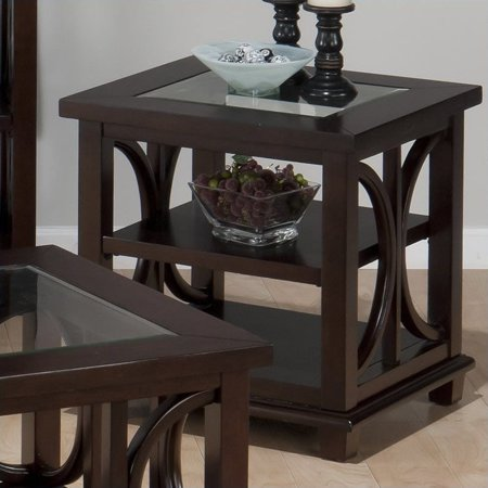 - Jofran Panama End Table with Tempered Glass Insert in Brown
