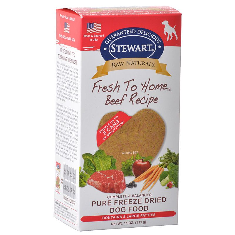 Stewart Raw Naturals Fresh to Home Beef Recipe Dog Food 8 Large Patties - (11 oz)