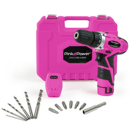 - Pink Power PP121LI 12V Cordless Lithium-Ion Drill & Driver Kit for Women- Tool Case, Drill Set, Battery & Charger