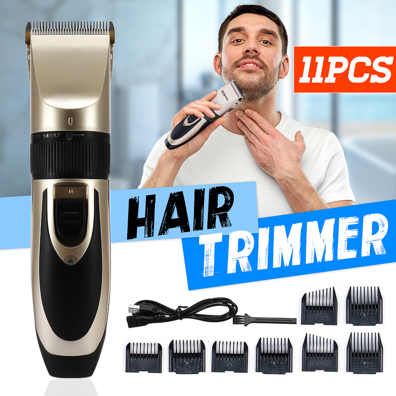 Cordless Rechargeable Hair Trimmer Clipper 5 Fine-tuning Speed Beard Shaver with 8 Combs