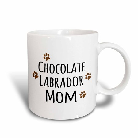 3dRose Chocolate Labrador Dog Mom - Doggie by breed - Lab brown muddy paw prints - doggy lover - pet owner - Ceramic Mug, 11-ounce