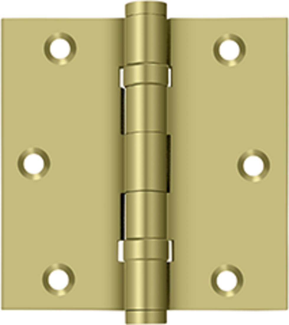 """3.5"""" x 3.5"""" Solid Brass Square Corner Ball Bearing Mortise Hinge - Pair Unlaquered"""