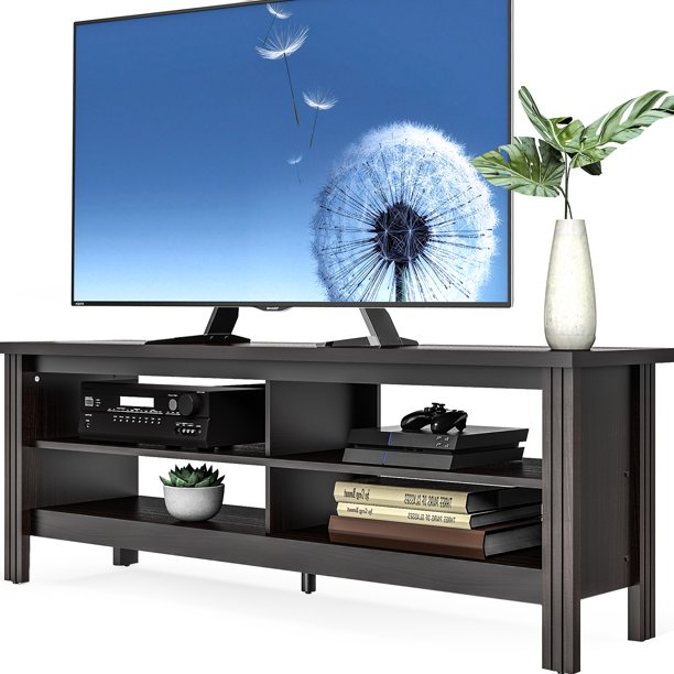 "FITUEYES Farmhouse TV Stand Console for TV's up to 65"" Flat Screen Television Entertainment Center, Black"