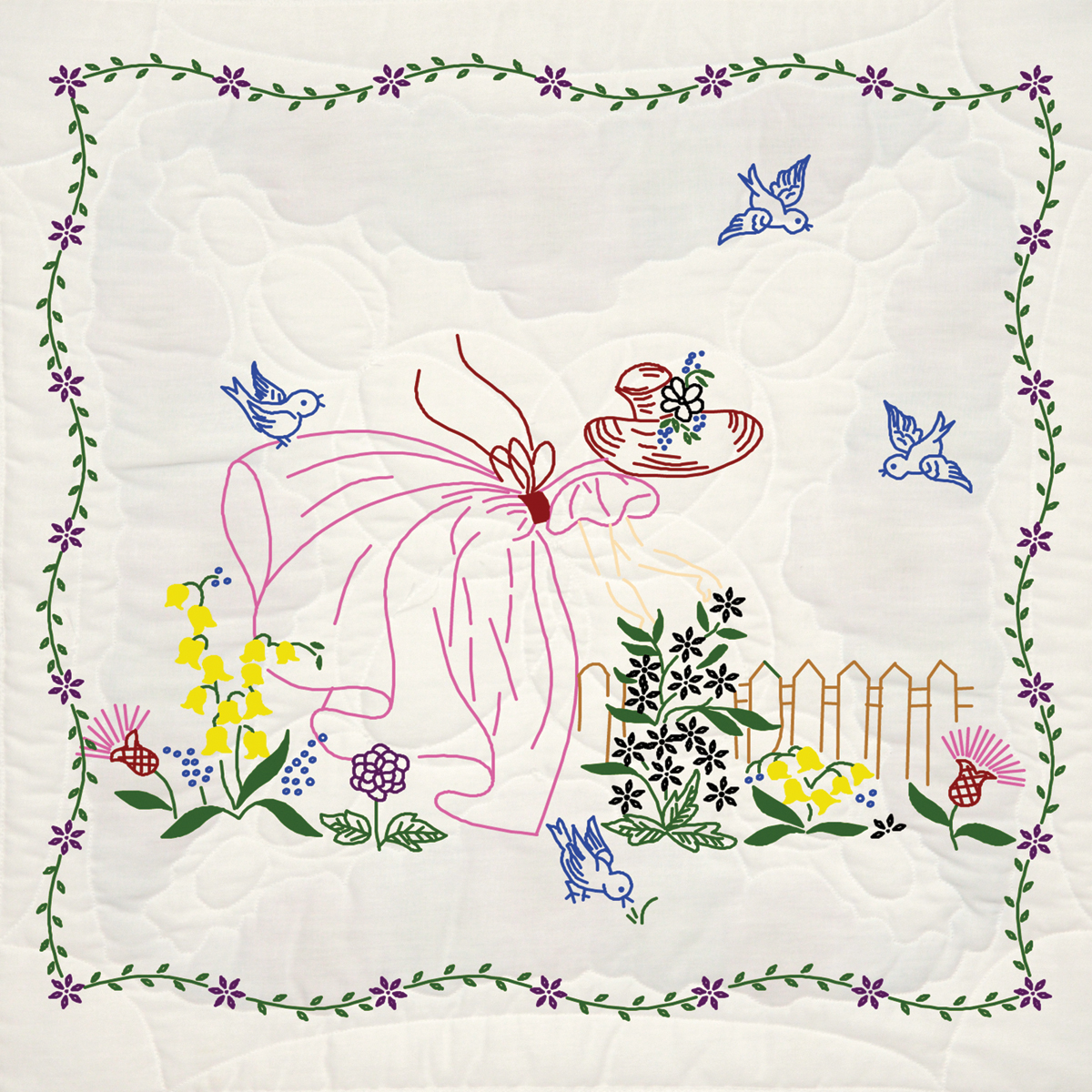 "Fairway Needlecraft Miss Daisy Stamped Quilt Blocks, 18"" x 18"