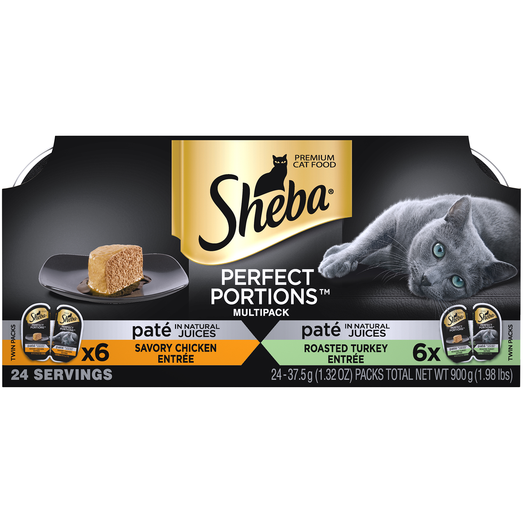 SHEBA PERFECT PORTIONS Wet Cat Food Paté in Natural Juices Savory Chicken Entrée & Roasted Turkey Entrée Variety Pack, (12) 2.6 oz. Twin-Pack Trays