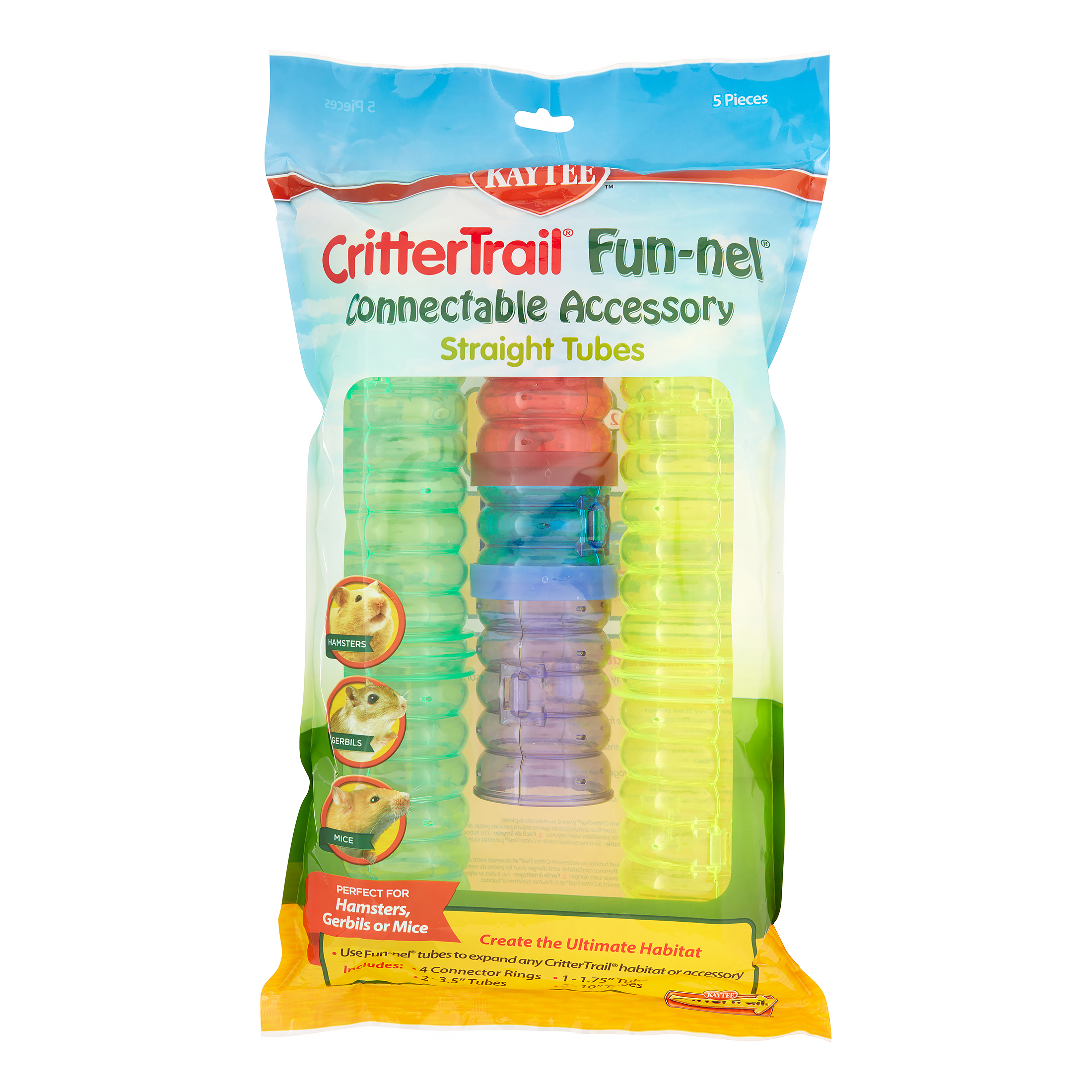 Kaytee CritterTrail Small Animal Fun-nels Straight Tubes, Assorted Colors