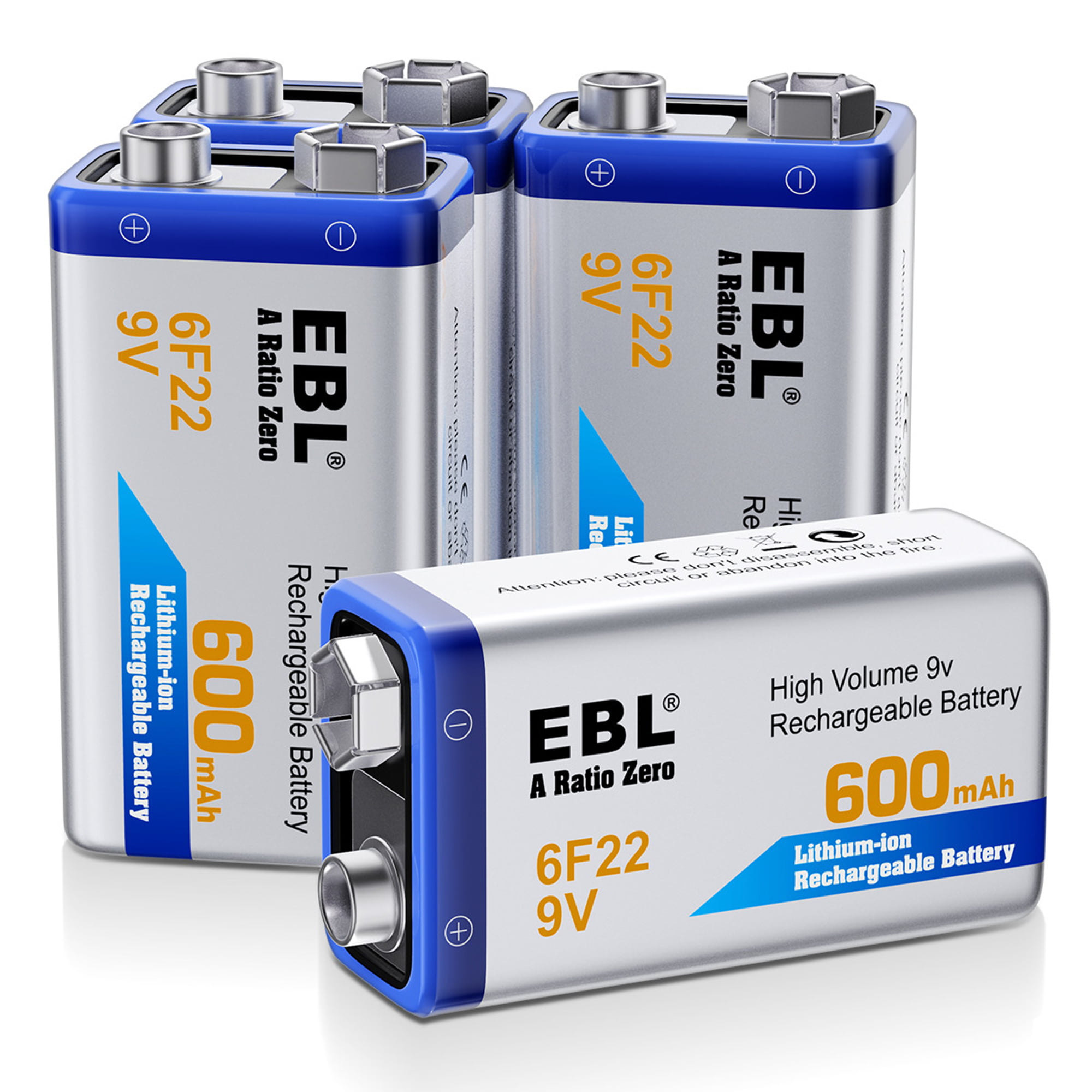 Akku 9V Block 600mAh Li-ion Batterien 6F22,Lithium-ion wiederaufladbare 9 Volt