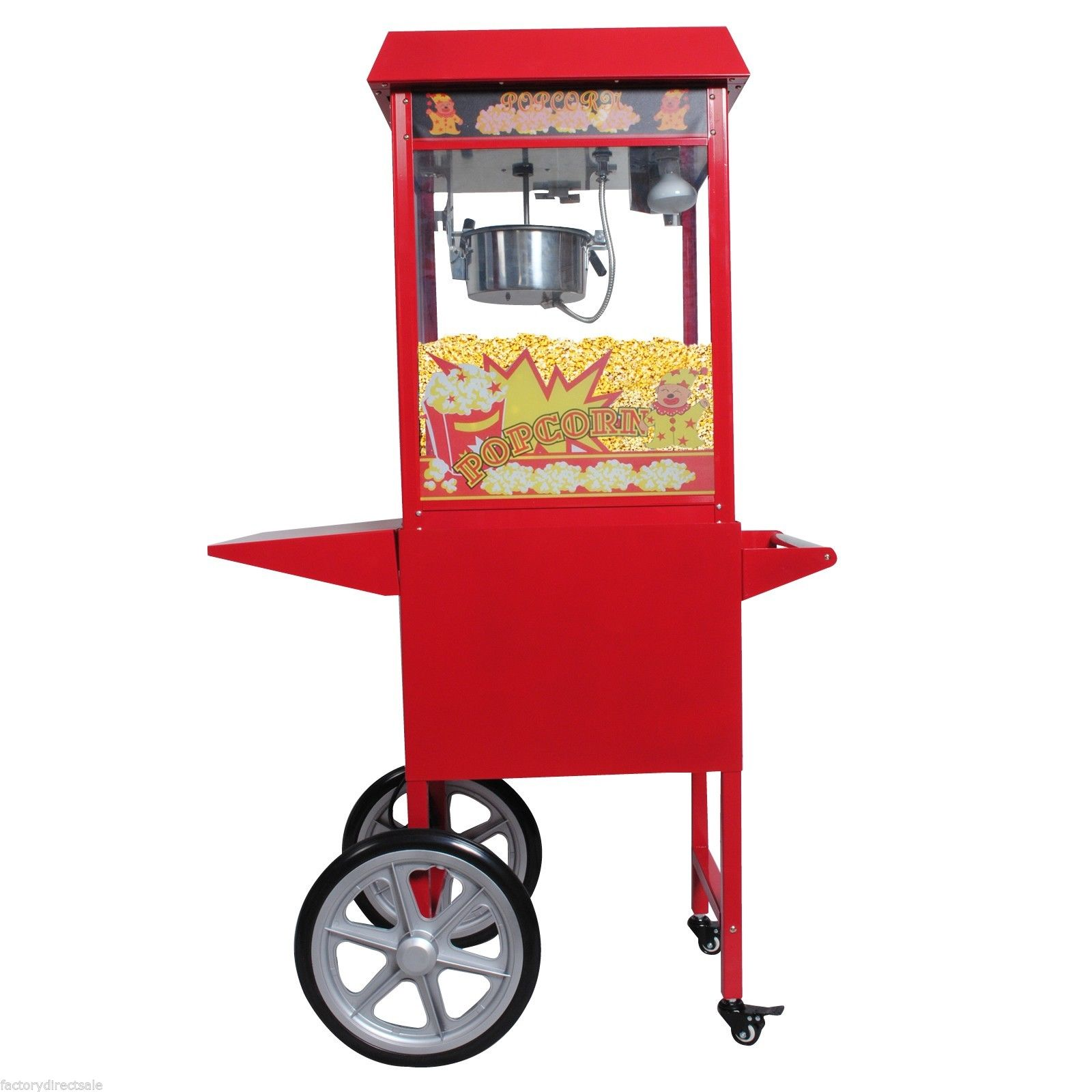 GHP 8-Oz Red Stainless Steel Antique Style Popcorn Popper Machine Stand with Cart