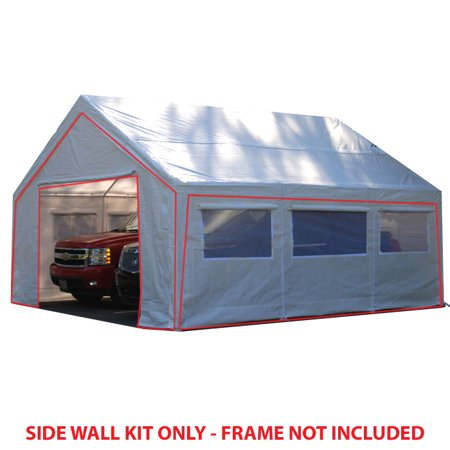 King Canopy 20 ft x 20 ft Carport Canopy Sidewall Kit w/ Flaps and Bug Screen Windows