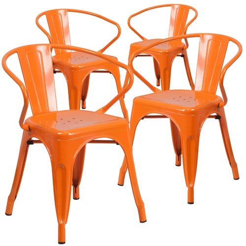 Flash Furniture Metal Indoor-Outdoor Chair with Arms, 4 Pack, Multiple Colors