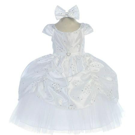 Baby Girls White Cinderella Embroidered Taffeta Dress 6-24M