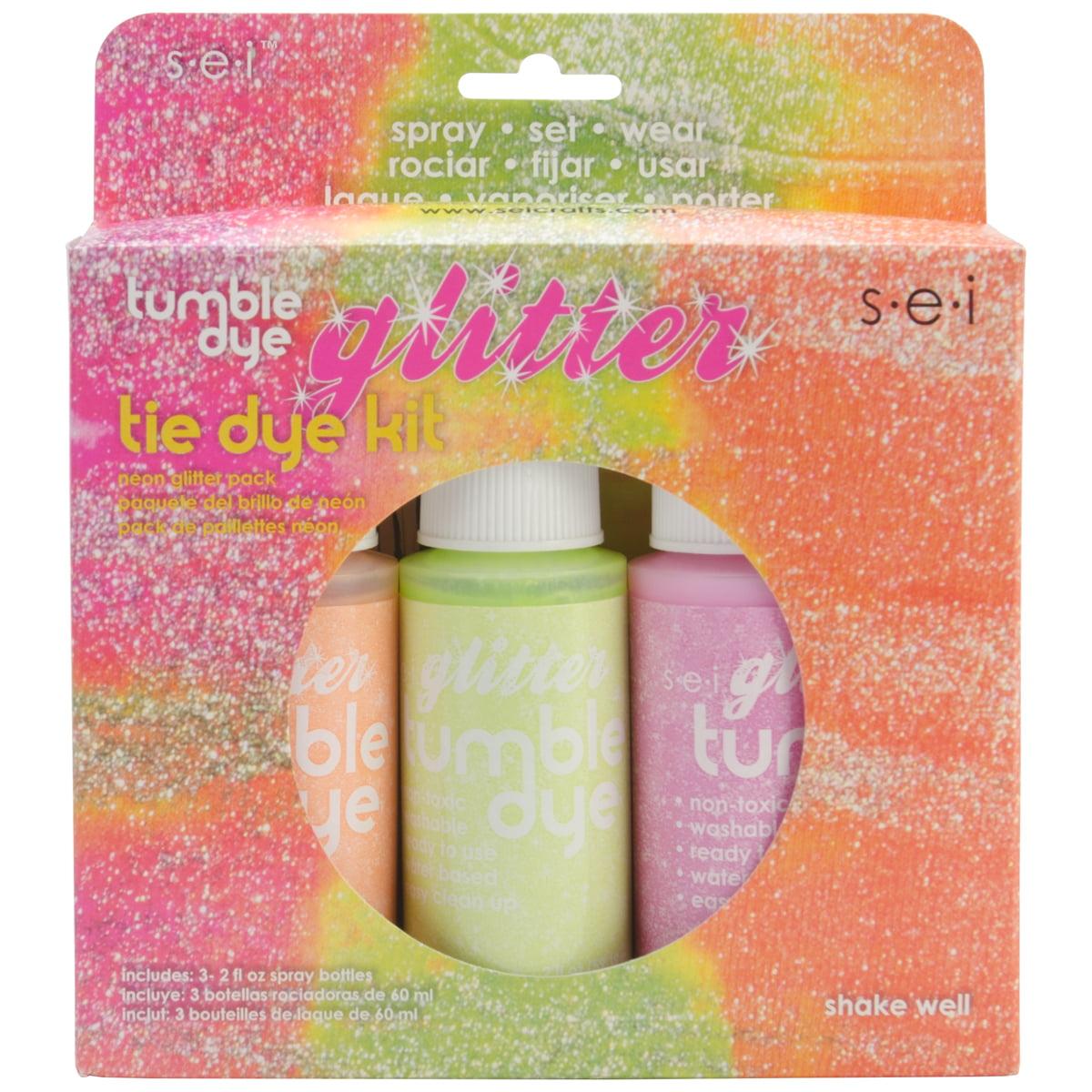 Tumble Dye Craft & Fabric Tie-Dye Kit 2oz 3/Pkg-Glitter Neon