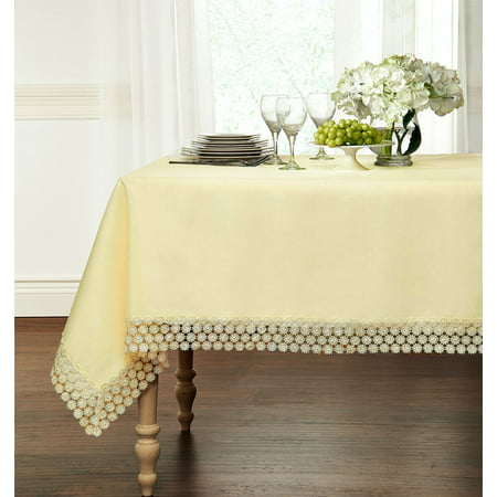Ultra Luxurious Textured Macrame Trim Fabric Tablecloth   Assorted Sizes   Colors   Beige  60   X 104   Oblong  8 10 Chair