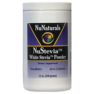 NuNaturals NuStevia White Stevia with Maltodextrin Powder, All-Purpose Sweetener with No Calories, 12-Ounce