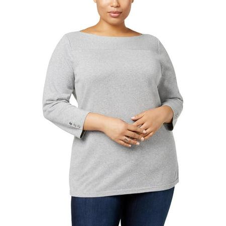 Karen Scott Womens Plus Knit Boatneck Pullover Sweater Gray 2X Rib Knit Boatneck Sweater