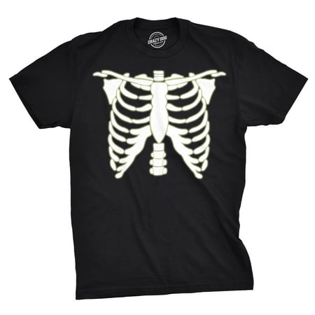 Skeleton T Shirts (Mens Glowing Skeleton Rib Cage Cool Halloween Costume Glow in the Dark T)