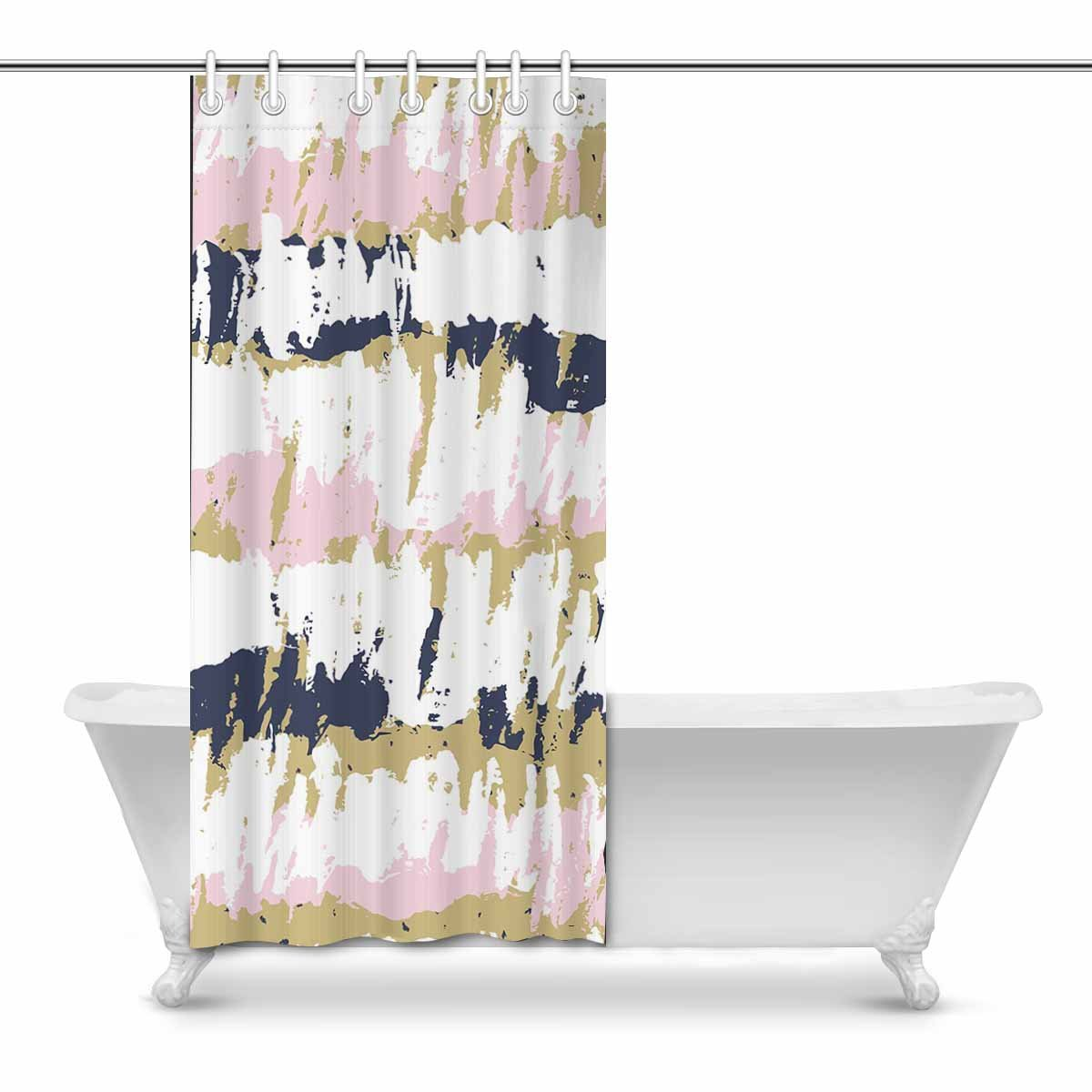 Pop Colorful Striped Pattern Vintage Scribble Shower Curtain