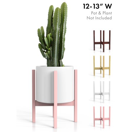 Plant Stand Mid Century Modern Tall Planter Holder - Pink Rose Quartz Wood Pot Shelf for Indoor/Outdoor 12