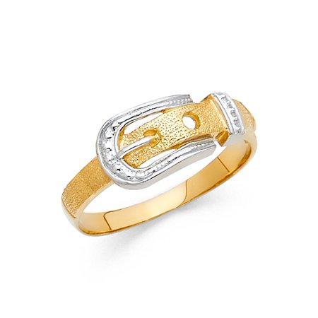 Belt Buckle Ring Solid 14k Yellow & White Gold Sand / Satin Finish Fancy Design Two Tone (Yellow Gold Satin Design)