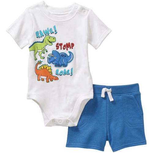 Garanimals Newborn Baby Boy 2-piece Graphic Top and French Terry Short Outfit Set